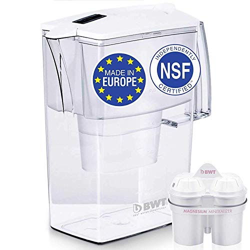 Europe's #1 Compact Water Filter Pitcher, Patented Magnesium Technology for Superior Filtration and Taste, BPA-Free, Not Made in China Like the Others - 60 Day Filter Included