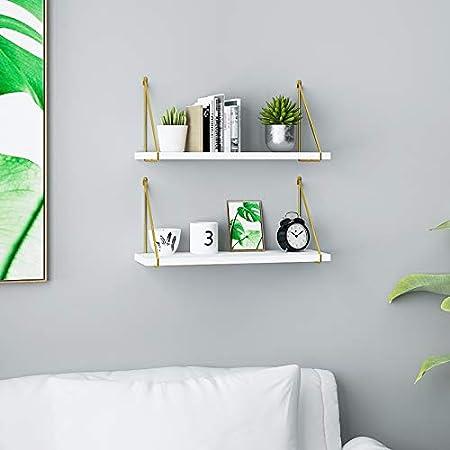 Brackets Support D/'/Étag/ère Flottante /Équerres Murales en M/étal Support D/'/éTag/èRe Triangulaires pour Salon 2 Pi/èces Or//Noir//Blanc