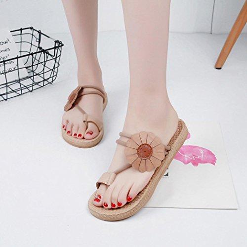 Damen Hausschuhe Flache Sommer Sandalen Feste Schuhe Khaki Lady DEELIN Freizeit Böhmen Bandagen Schuhe dRfqwndCxT