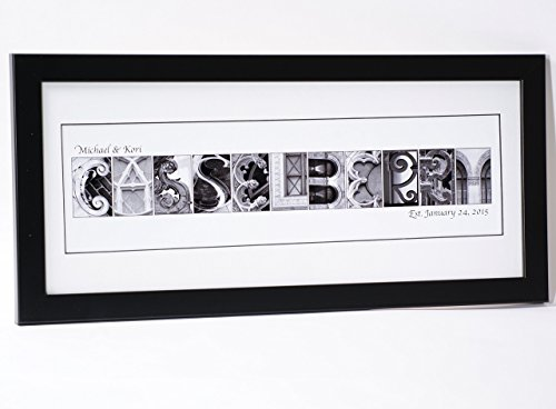 Architectural Black White Photos (Creative Letter Art Personalized 12 by 26 inch Sign with Black and White Architectural Alphabet Picture Letters for Personalized Gifts, Wedding, Anniversary, Newborn, Childs Room and more.)
