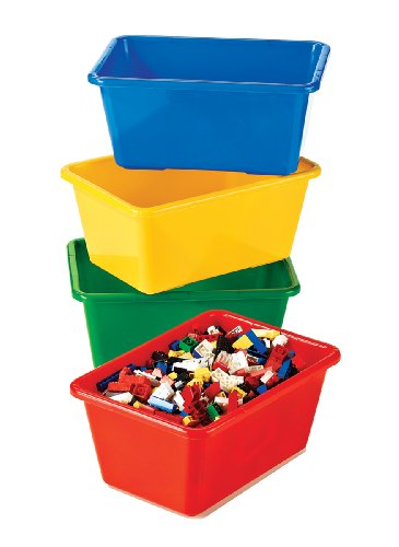 Tot Tutors Kids' Primary Colors Small Storage Bins, Set of 4 (Storage Toy Plastic)