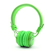 GranVela Q8 Lightweight Foldable Wireless Bluetooth On-Ear Headphones with Microphone, Micro SD Card Player, FM Radio and 3.5mm Detachable Cable Stereo Headset - Light Green