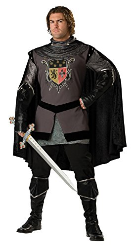 UHC Men's Dark Knight Outfit Medieval Theme Fancy Dress Halloween Adult Costume, L (42-44)