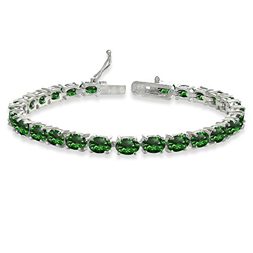 Sterling Silver 6X4mm Simulated Emerald Oval-cut Tennis ()