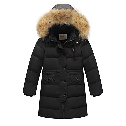 (LPATTERN Big Girls' Winter Parka Down Coat Puffer Jacket Padded Overcoat with Fur Hood, Black, 100(2-3Years,for Height: 85cm-95cm))