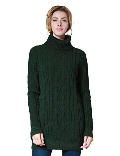 ninovino Women's Long Sleeves Cable Knit Turtleneck Long Sweater Green-S