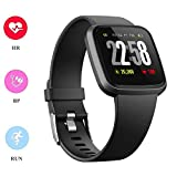 H4 Fitness Health 2in1 Smart Watch for Men Women Smartwatch with All-Day Heart Rate/Blood Pressure/Sleep Monitor IP67 Waterproof Sports Activitity Tracker Bluetooth Watch (Black)
