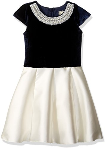 BTween Girls' Big Holiday Dress with Velvet Top and Pearl Embellishment, Navy/Ivory, 10 -