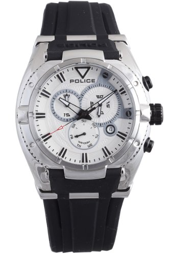 Police Men's PL-13092JS/04 Raptor Silver Chronograph Day-Date Rubber Watch