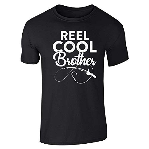 (Reel Cool Brother Fishing Rod Fisherman Funny Black L Short Sleeve T-Shirt)