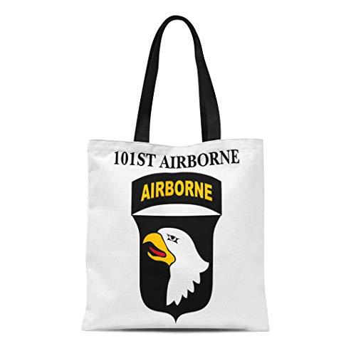Semtomn Cotton Line Canvas Tote Bag Ssi 101St Airborne Screaming Reusable Handbag Shoulder Grocery Shopping Bags