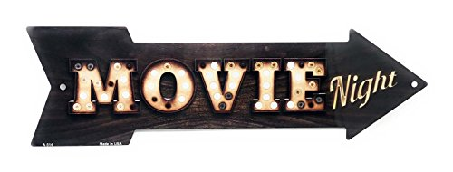 S&B Movie Night Vintage Light Bulb & Wood Look Novelty 17x5 Arrow Metal Sign for Wall ()