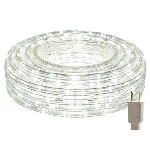 HEI LIANG LED Rope Lights, 120V Waterproof LED String Lights for Patio, Backyard, Garden, Wedding, Christmas Party, Indoor and Outdoor Decoration (50FT/15M, White)
