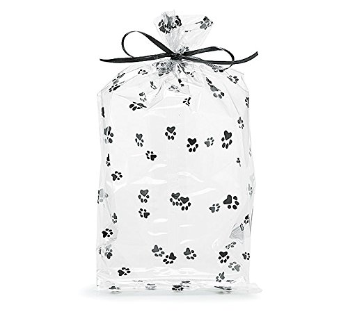 Paw Print Cello Birthday Party Favor Treat Shower Gift Bag 11x5x2.5 (10) ()