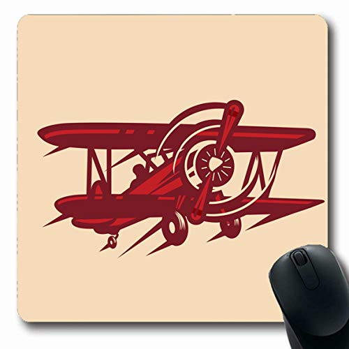 LifeCO Computer Mousepad Plane Biplane Vintage Red Baron Air Aircraft Airplane Aviation Cloud Design Oblong Shape 7.9 x 9.5 Inches Oblong Gaming Non-Slip Rubber Mouse Pad -