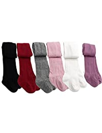 6 Pairs Baby Toddler Gilrs Cable Knit Tights Cotton Warm Leggings Stocking Pants