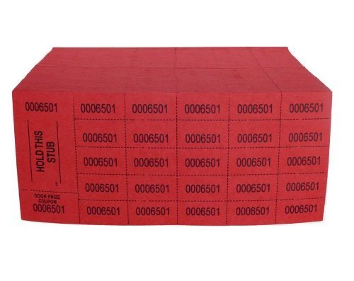 Auction Tickets - 500 Sheets - Red (National Bingo) by NATIONAL BINGO
