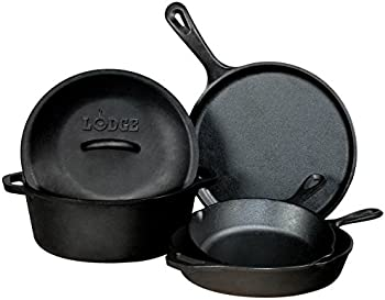 Lodge L5HS3 5-Piece Cast-Iron Cookware Set