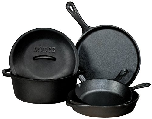 "Lodge Seasoned Cast Iron 5 Piece Bundle. 10.5"" Griddle, 8"" Skillet, 10.25"" Skillet, 10.25"" Dutch Oven, and 10.25"" Lid by Lodge"