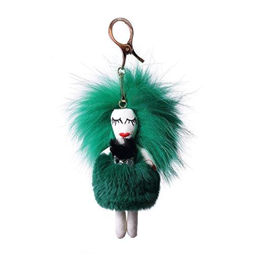 URSFUR Piel de zorro muñeca de muchacha de pelo largo bolsa de cadena dominante de coche de conejo Verde con negro