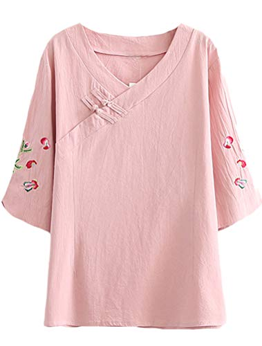(Mordenmiss Women's Frog Button Blouse Embroidered Sleeve V Neck Top M Pink)