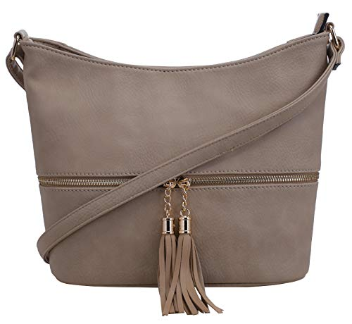 (DELUXITY Medium Size Hobo Crossbody Bag with Tassel/Zipper)