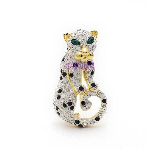 Mosaic Brooch Pin (TKHNE Gold-plated mosaic crystal brooch pin badge pin brooch pin badge leopard animal gift)