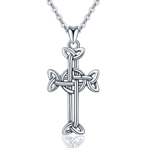 INFUSEU Sterling Silver Irish Celtic Cross Knot Eternal Trinity Pendant Necklace for Women Jewelry - Necklace Eternal Pendant Cross