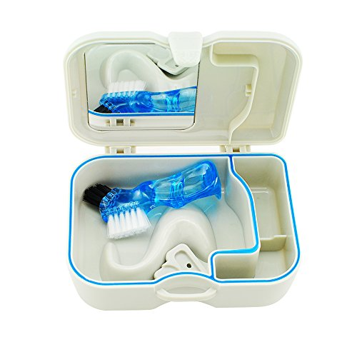Enshey Handy Denture Box Storage with Mirror and Clean Brush Denture Bath Box Case Dental False Teeth Storage Box Dental Retainer Container Great for Dental Care, Easy to Open, Store and Retrieve