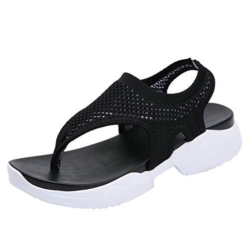 Respctful✿Women's Fashion Ankle Strap Buckle Low Wedge Platform Heel Comfortable Sandals Shoes with Adjustable Strap