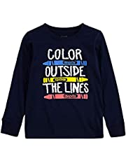 CRAYOLA Boys' Long Sleeve Graphic T-Shirt Tee, Navy Outside The Lines, 4