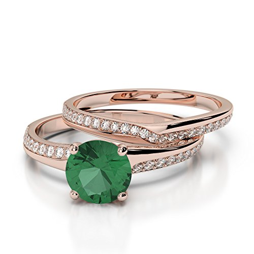Or Rose 18carats 1CT G-H/VS sertie de diamants ronds découpé Émeraude et de mariage Bague de fiançailles et ensemble de Agdr-2015