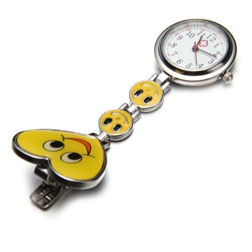 Gleader Reloj Bolsillo Metal Tipo Enfermera Cuarzo Corazon Risa Esfera Redondo Amarillo