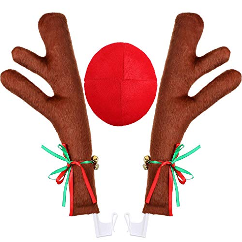 Holoras Christmas Car Reindeer Antlers and Nose Decorations Kit Vehicle Costume Plush Rudolf Red Nose Deer Antlers Auto Accessories]()