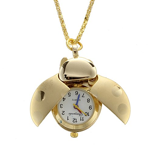 SODIAL(R) Ladies Arabic Numerals Display Gold Tone Ladybug Pendant Necklace - Ladybug Watch Necklace