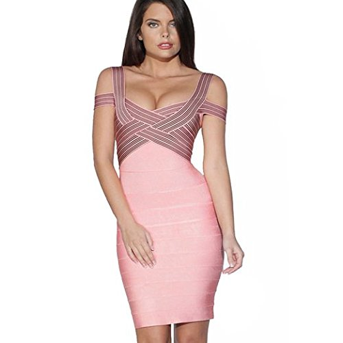 iFashion Womens Rayon Cold Shoulder Bandage Bodycon Strappy Party Dress