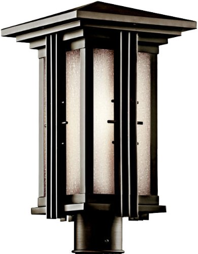 KICHLER 49162OZ Portman Square 1LT 16IN Exterior Post Lantern, Olde Bronze Finish with Etched Seedy Glass