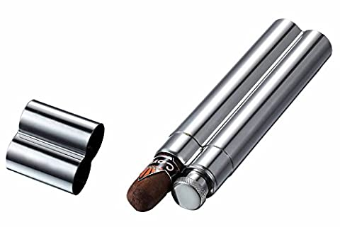 Visol VCASE1000 Malamute Stainless Steel Cigar Tube and Flask - Personalized Cigar Case