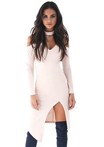 ALAIX Sexy Fashion Womens Deep V-neck Club Dresses Irregular Hem Long sleeve White-S