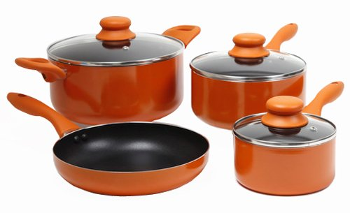 Gibson Colorsplash Branston 7 pc Cookware Set- Orange