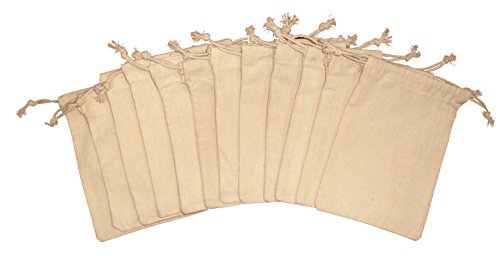 (Organic Cotton Muslin Produce Storage Bag with Drawstrings, Small 5x7 inch, Sachet Bags, Canvas Bags, Great for Grocery Shopping & Household Organizing, Gift Bags/Ideas, 12 count pack)
