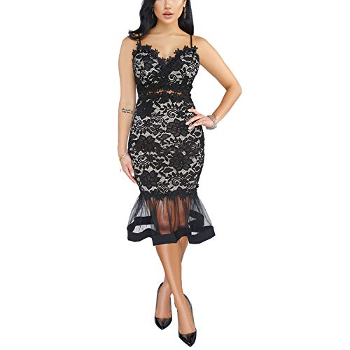 Womens Lace Bodycon Dress - Spaghetti Strap Hollow Out V Neck Mini Skirt Party Club Night Black ()