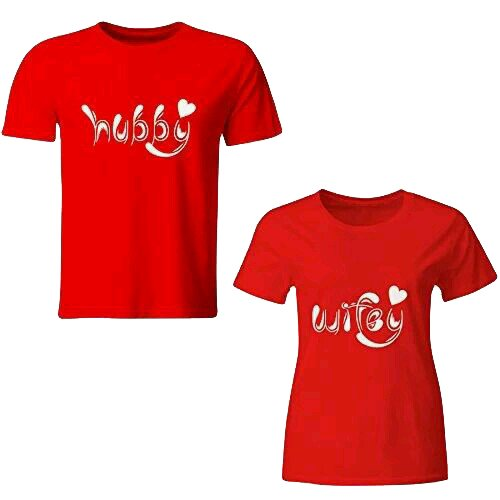 85155a9f4bf ADYK Cotton Half Sleeves Hubby Wifey Printed Red Color Couple T ...