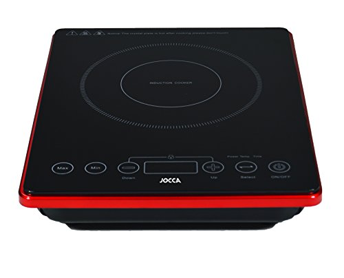 Jocca 2000 Placa de inducción portátil con superficie de cristal y pantalla Lcd, 2000 W, Negro