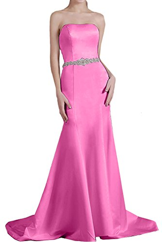 Abendkleid Meerjungfrau Satin einfach Ruekenfrei Ivydressing Traegerlos Pink Strass Perlen aermellos Damen Brautfernkleid Schleppe Guertel Partykleid Yt1qq57w