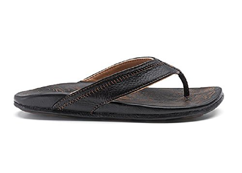 OLUKAI Hiapo Sandal - Men's Black/Black - Thong Embroidered Open