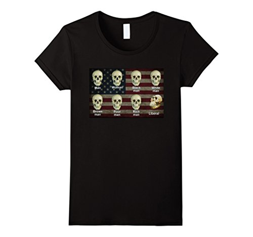 Womens Tee Skull (Women's Black White Liberal Skulls Shirt XL Black)