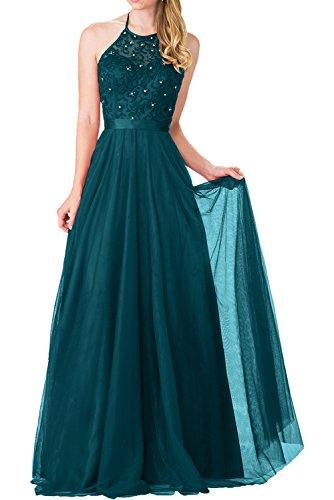 Prinzess Blau mit Abendkleider Charmant Langes A Navy Dunkel Kleider Linie Ballkleider Blaues Festlick Damen 2018 Neu Spitze RxBBn8XAa
