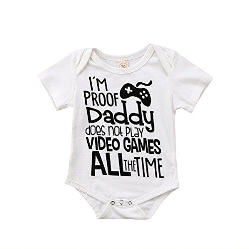 Lahyra Newborn Baby Girl Boy Short Sleeve Romper Letter Print Bodysuit Onesies (White, 0-6 (Time Baby Onesie)
