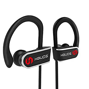 HBUDS H1 Sport Wireless Bluetooth Headphones w/ True HD Stereo & Mic, IPX7 Waterproof rating for Running, Gym, Working Out, 9 Hours Battery Noise Cancellation Earphones